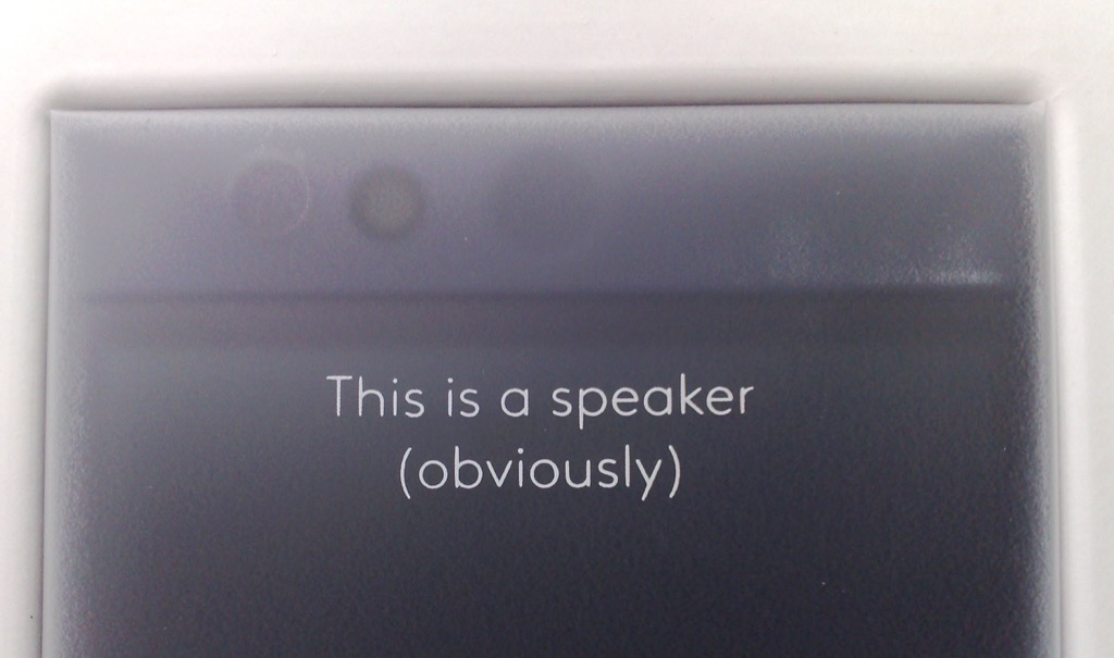 "Photo of label for Nextbit Robin, part one: ""This is a Speaker (obviously)"""