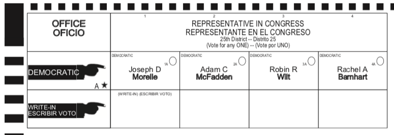 Detail from New York 25th Democratic primary congressional ballot, 2018.