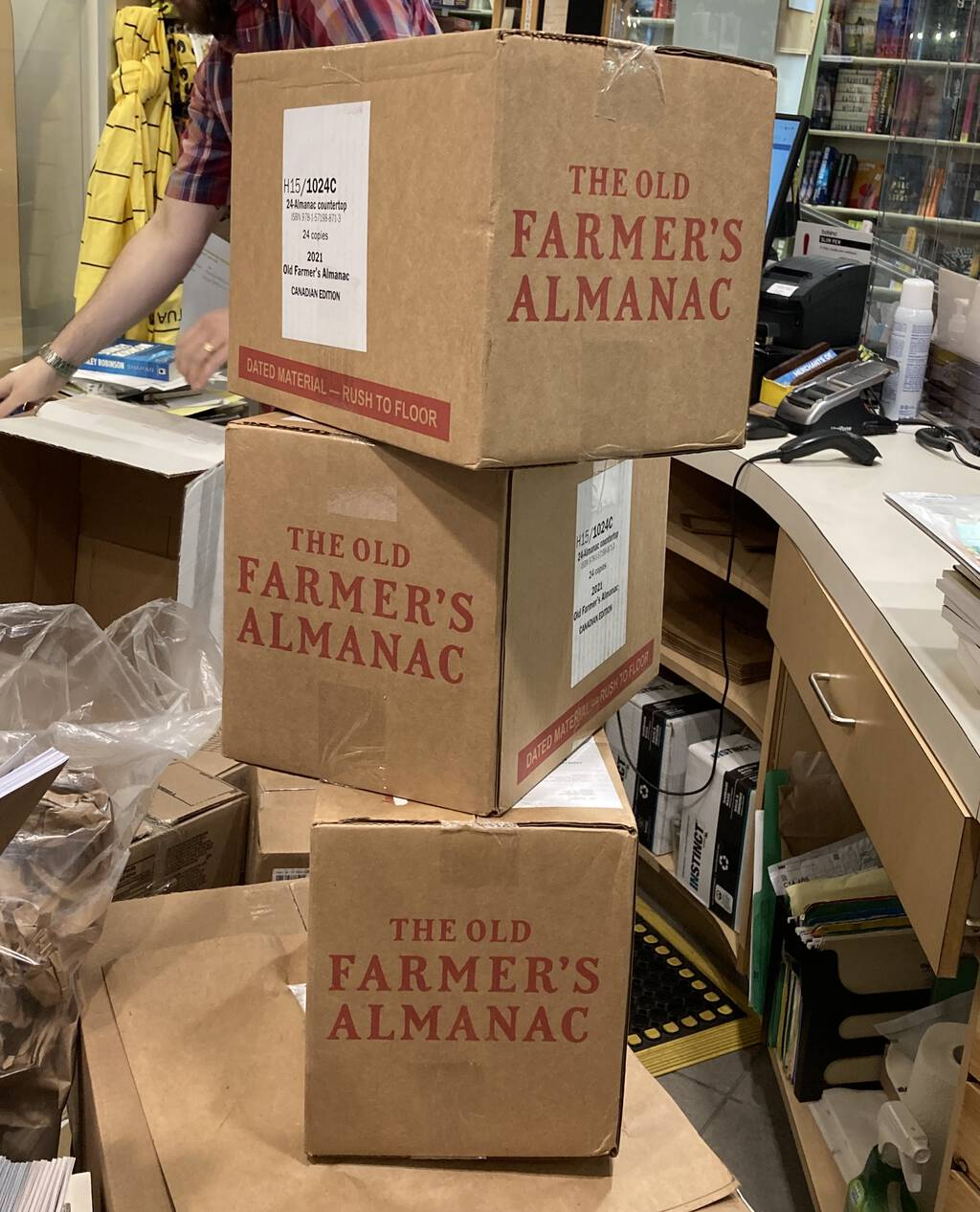 Three boxes of the 2021 Old Farmer's Almanac at The Bookmark