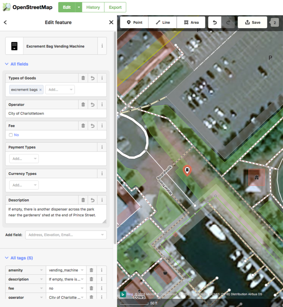Screen shot of OpenStreetMap editor showing dog poop bag dispenser addition