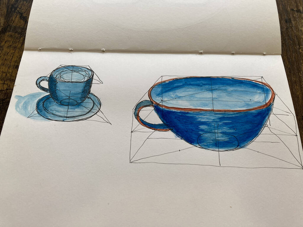 A sketch of two mugs.