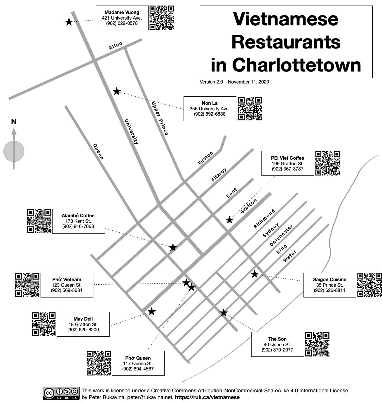 Map of Vietnamese Restaurants in Charlottetown