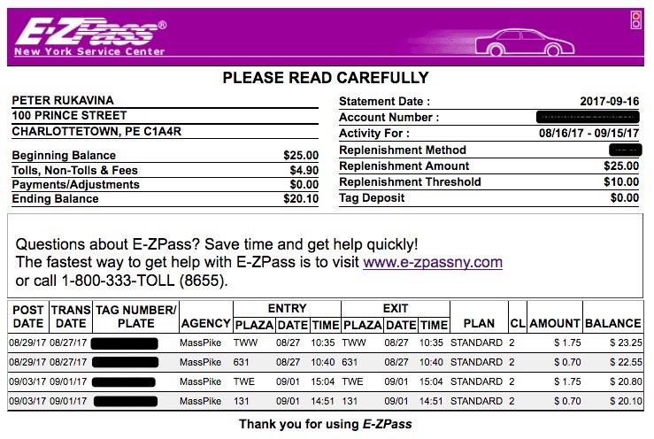 My E-ZPass Statement