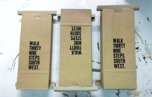 Walk Thirty Nine Steps South West (piles of printed coffee bags)