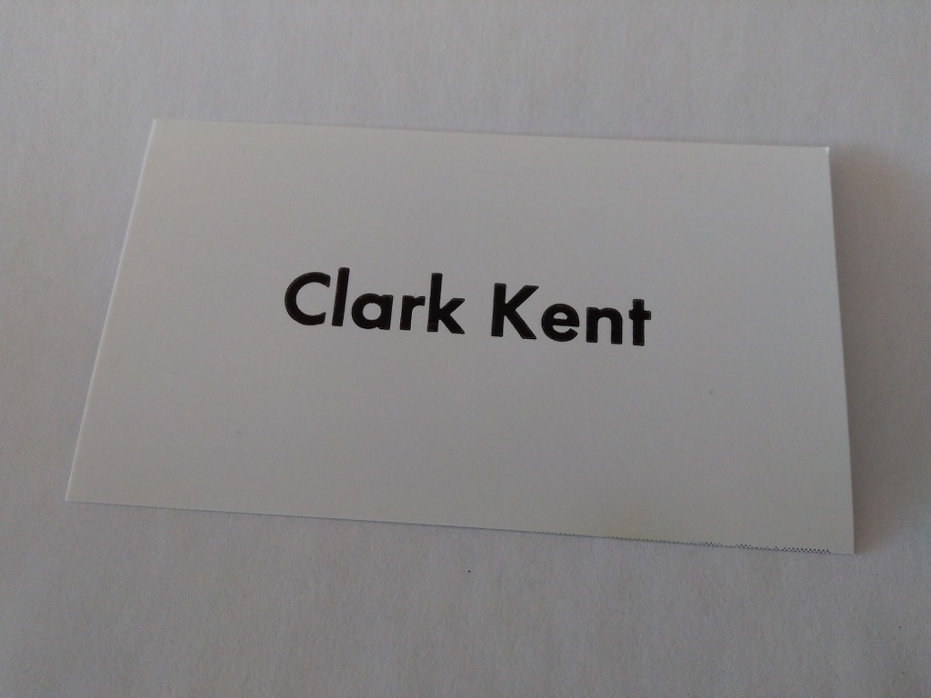 Clark Kent business card photo on glossy paper