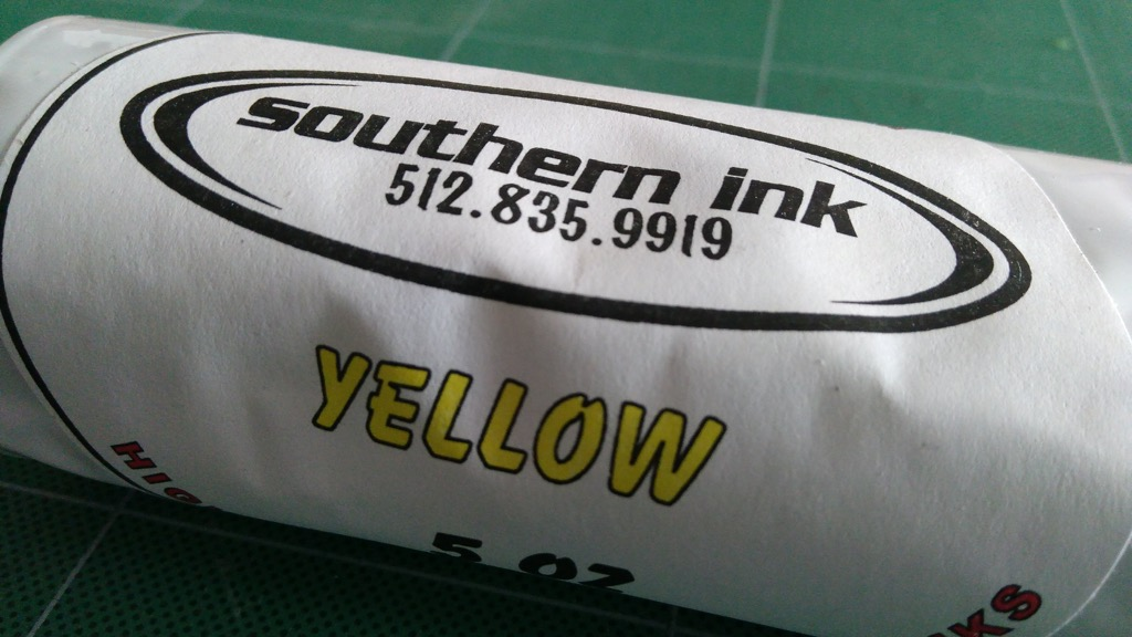 Photo of a tube of Yellow ink