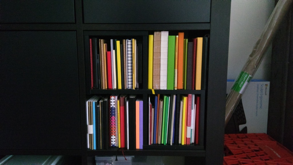 Photo of my notebooks shelf