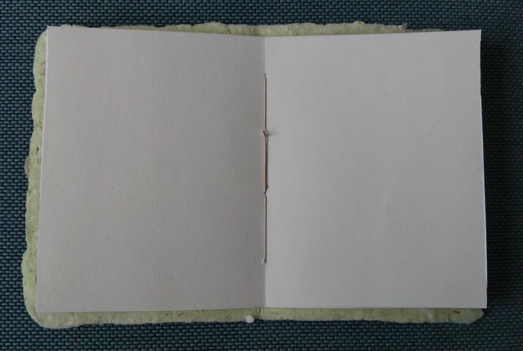 Inside handmade paper book