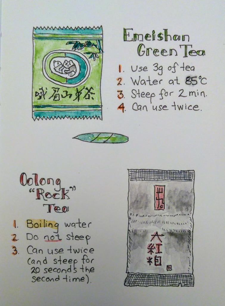 Sketches of tea-making instructions.
