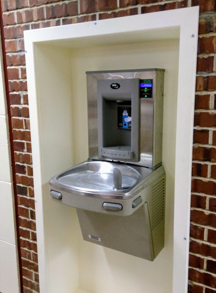 New water fountain at Colonel Gray