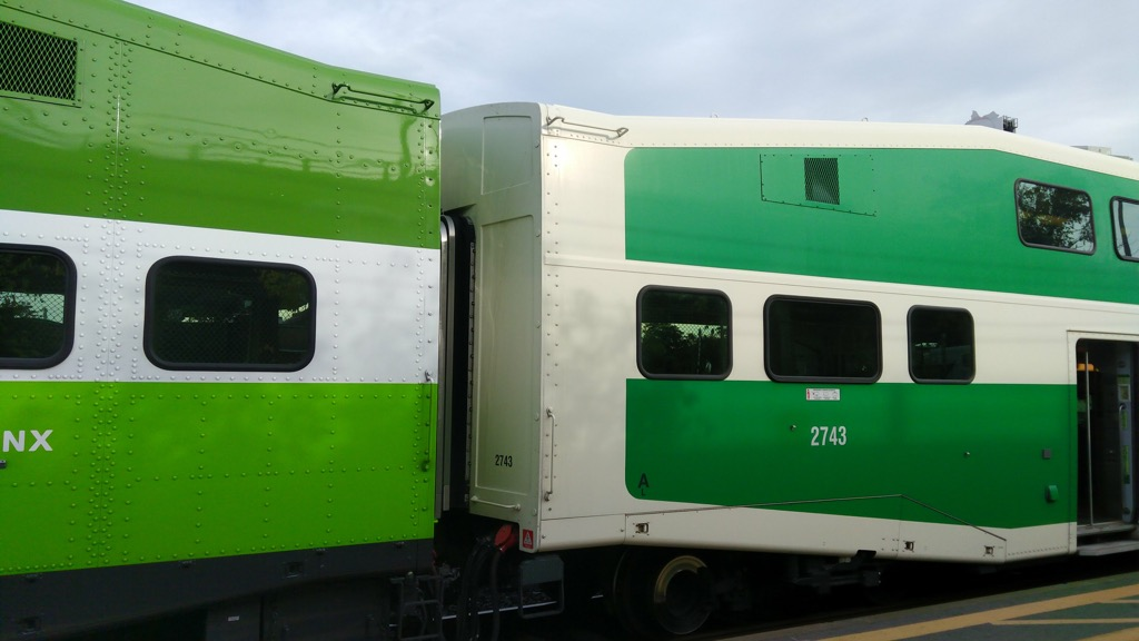 All the GO Transit Colours on two train cars