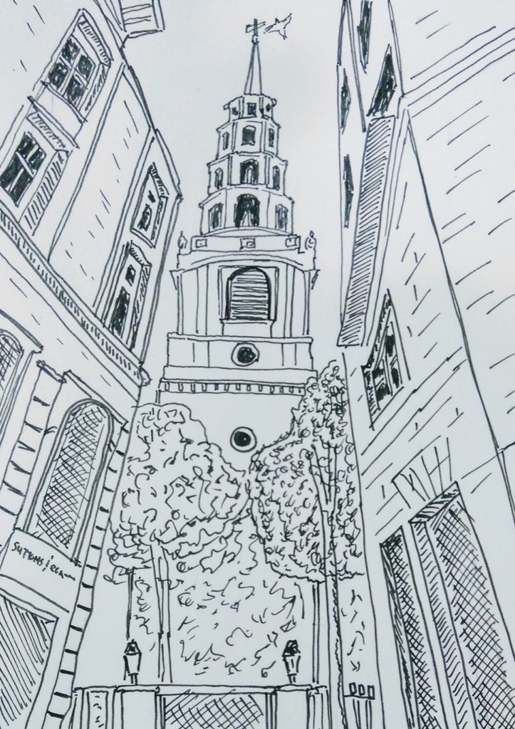 St Bride's Church, London (sketch)