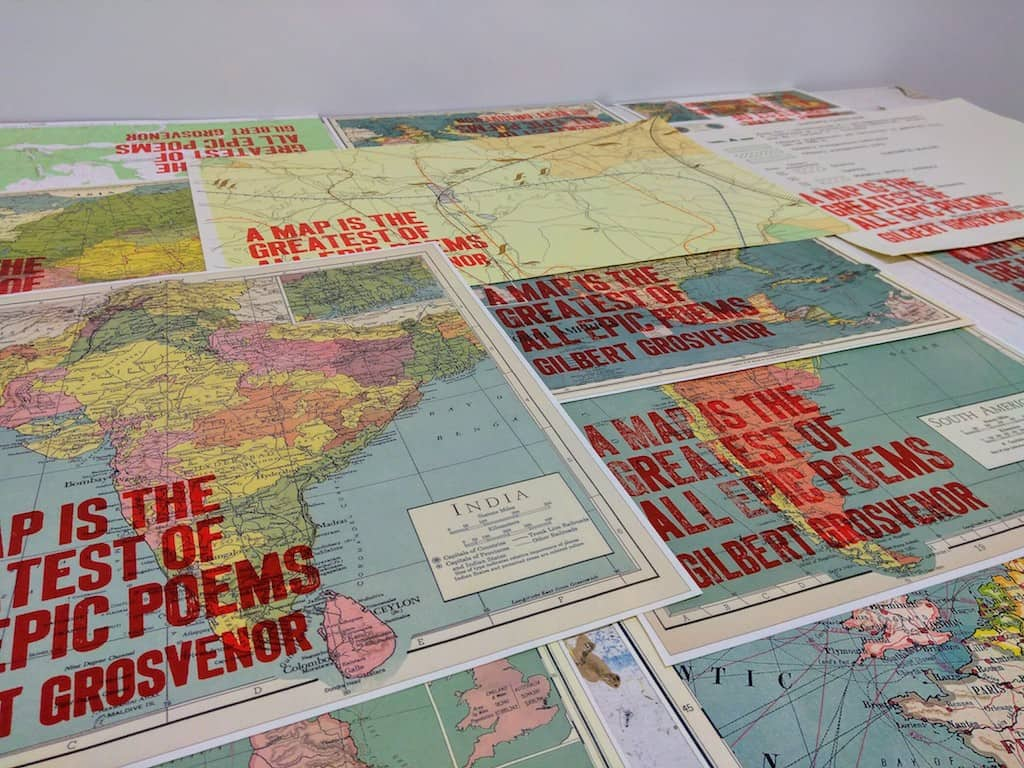 Collection of maps overprinted with Grosvenor quote