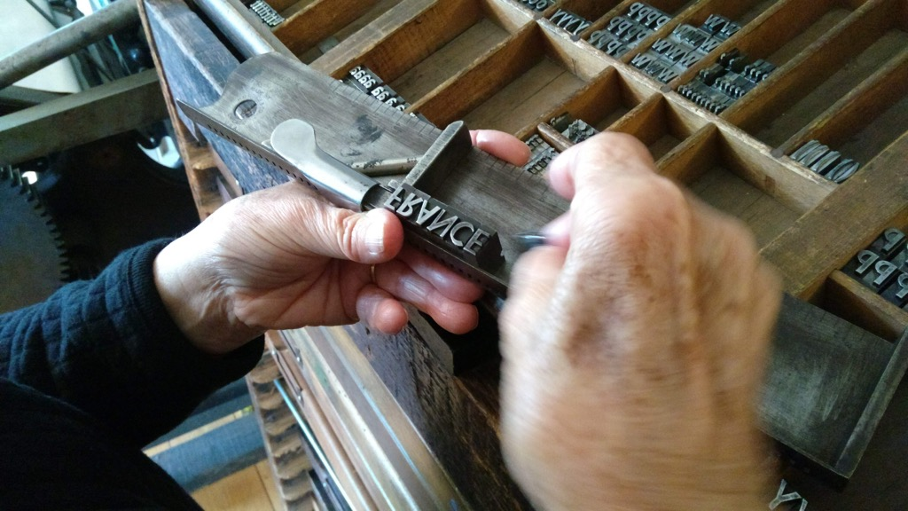 My Mother setting FRANCES in metal type