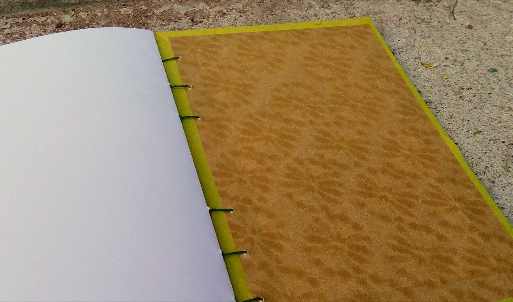 Inside cover of the coptic stitched book