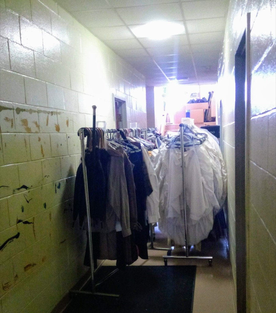 Photo of Confederation Players costume racks being removed from St. Paul's.