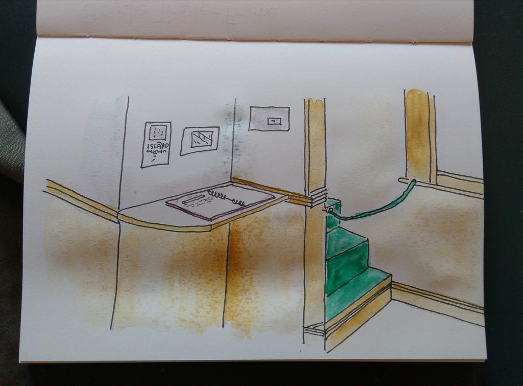 Sketch of the inside back room of Island Chocolates