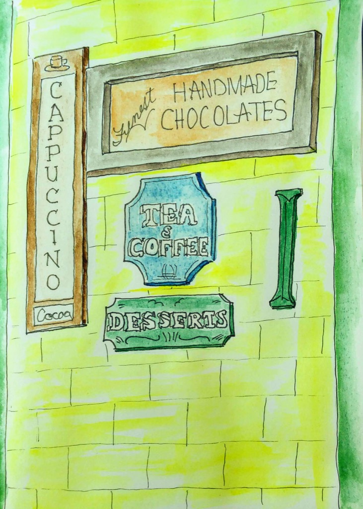 Sketch of Island Chocolates signs