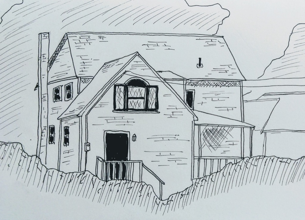 Sketch of the house across from Island Chocolates