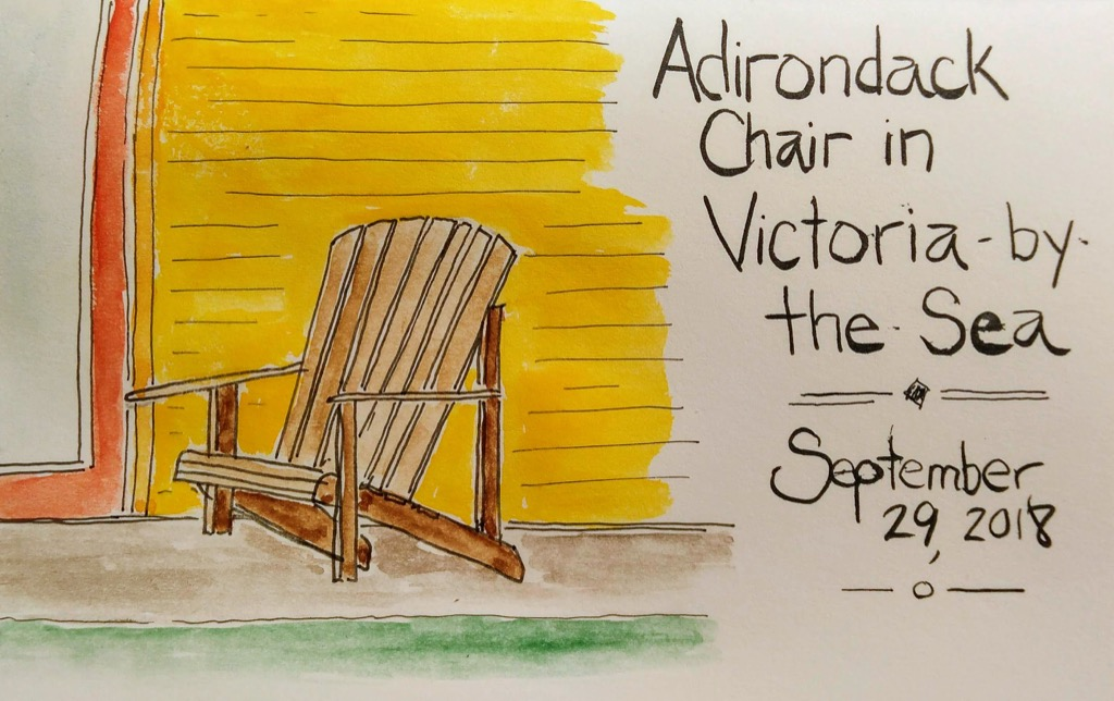 Sketch of a chair across from Island Chocolates
