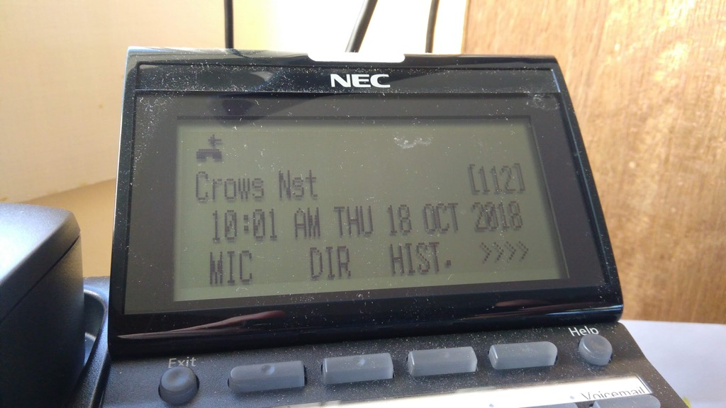 Phone at Yankee Publishing showing Crow's Nest on the phone identifying its location.