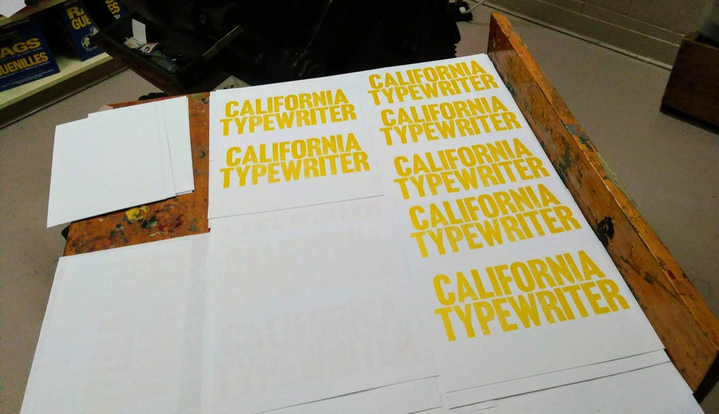 CALIFORNIA TYPEWRITER prints drying after letterpress printing