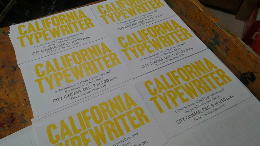 Photo of California Typewriter posters drying