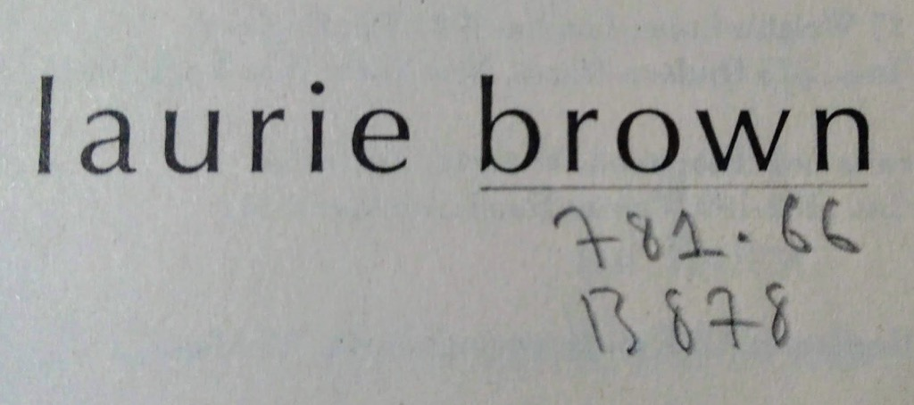 Laurie Brown's name and the Dewer number