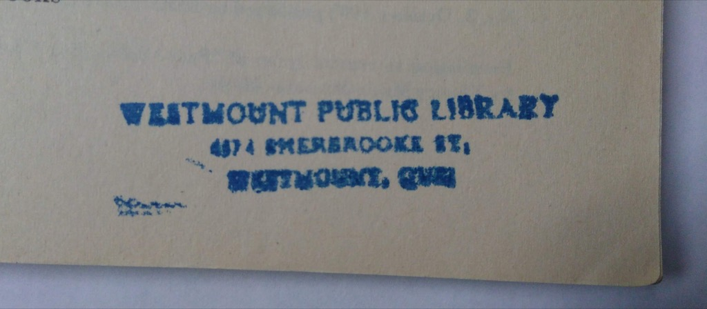The library address as a rubber stamp