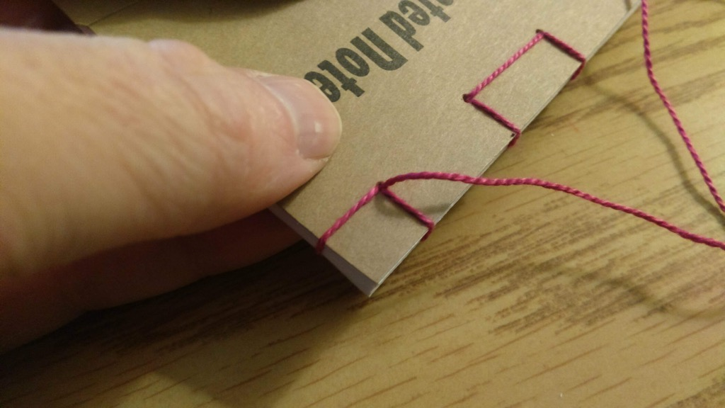 Photo of stitching continuing down to the other end.