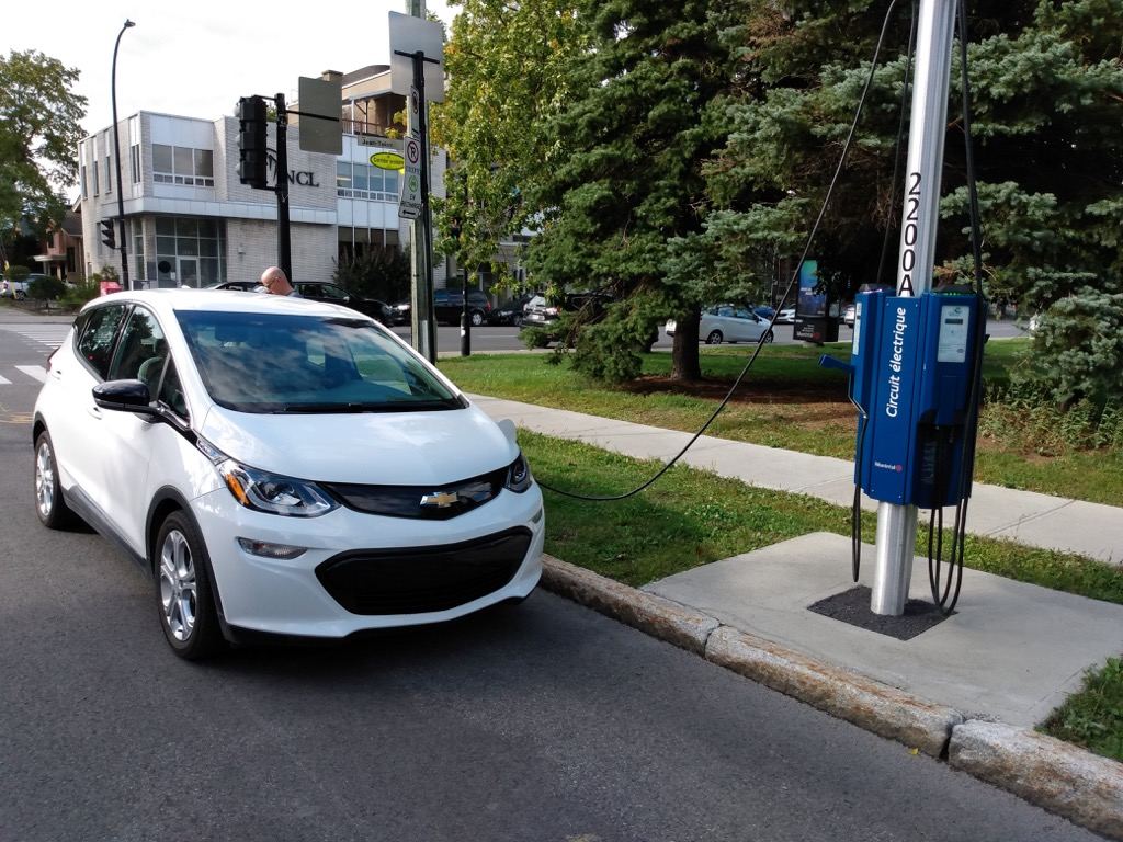 Charging my Chevy Bolt at an Electric Circuit charger in Montreal.