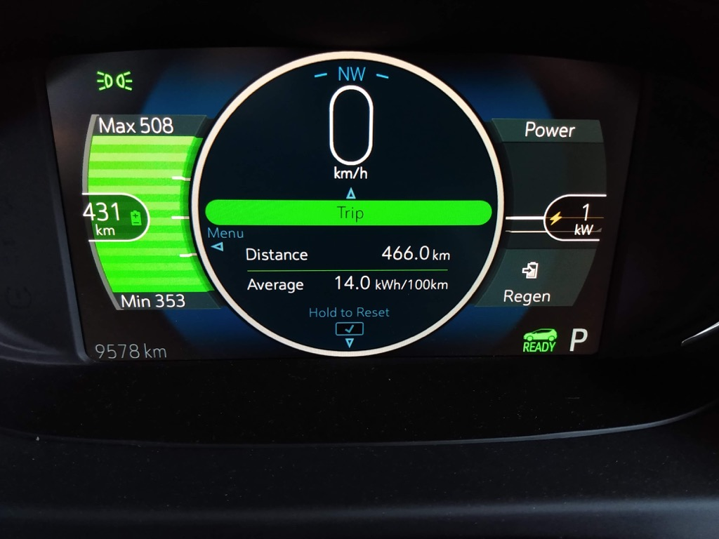 Chevy Bolt dashboard reporting range.