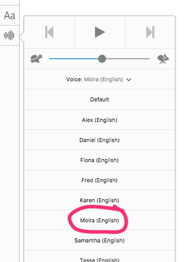 Screen shot of voice selection in Reader View in Firefox