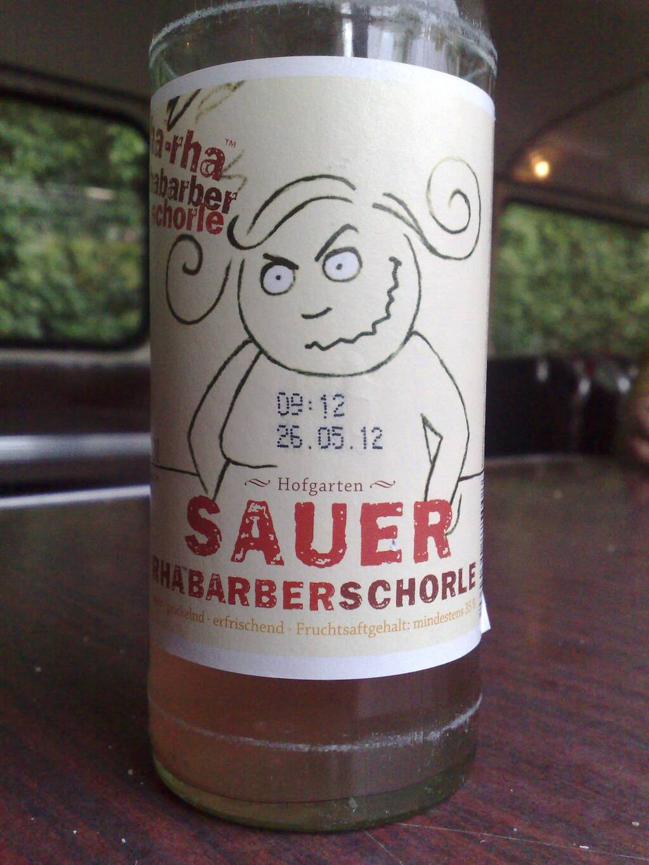 A bottle of Rhabarberschorle.