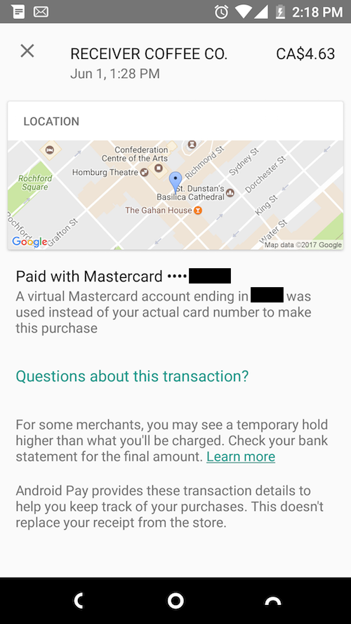 Screen shot of Android Pay (my first usage)