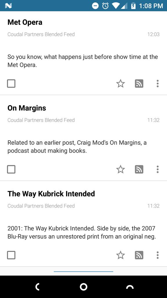Screen shot of the Tiny Tiny RSS app
