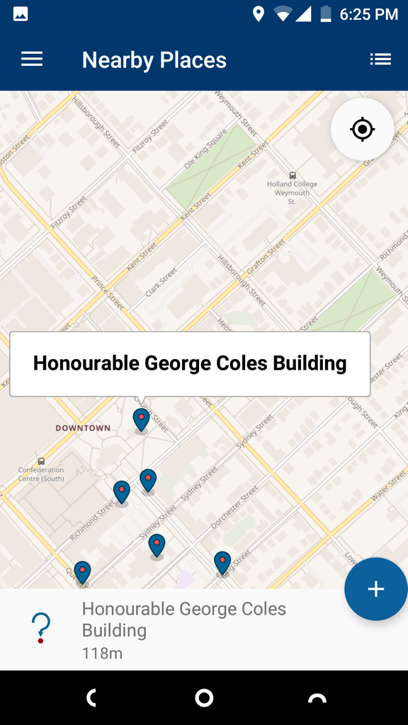 Wikimedia Commons App: Nearby Places view, showing nearest nearby place