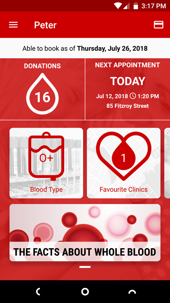 Screen shot of Give Blood app
