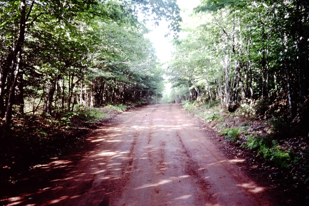 Photo of a clay road.