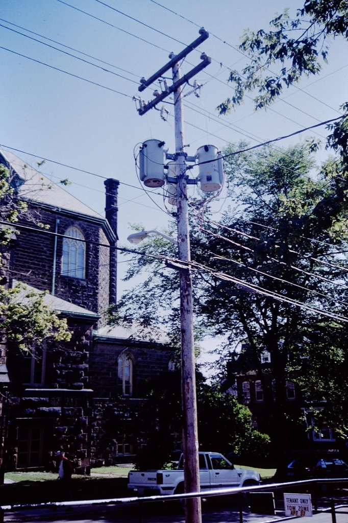 Telephone pole on Sydney Street in Charlottetown, 1994