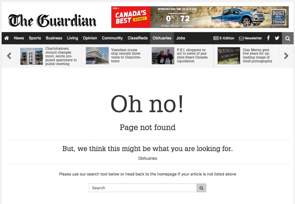 404 Page for Obituaries on The Guardian