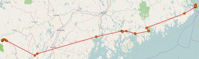 Route across Maine