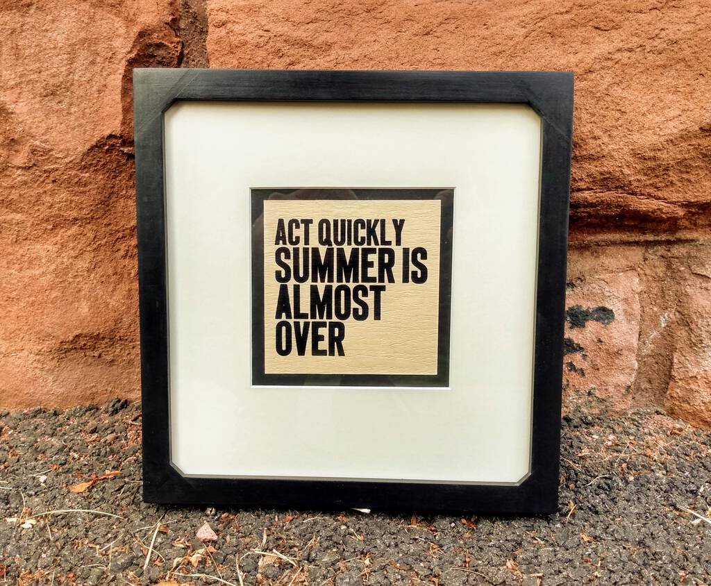 Framed version of Act Quickly Summer is Almost Over print