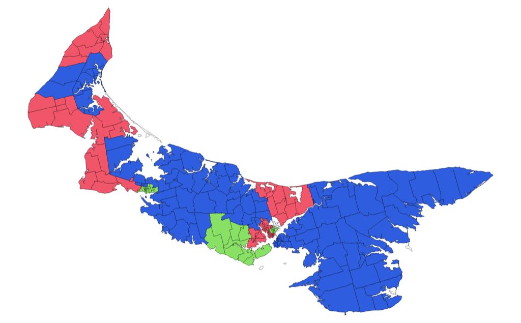 Map showing advance poll winners