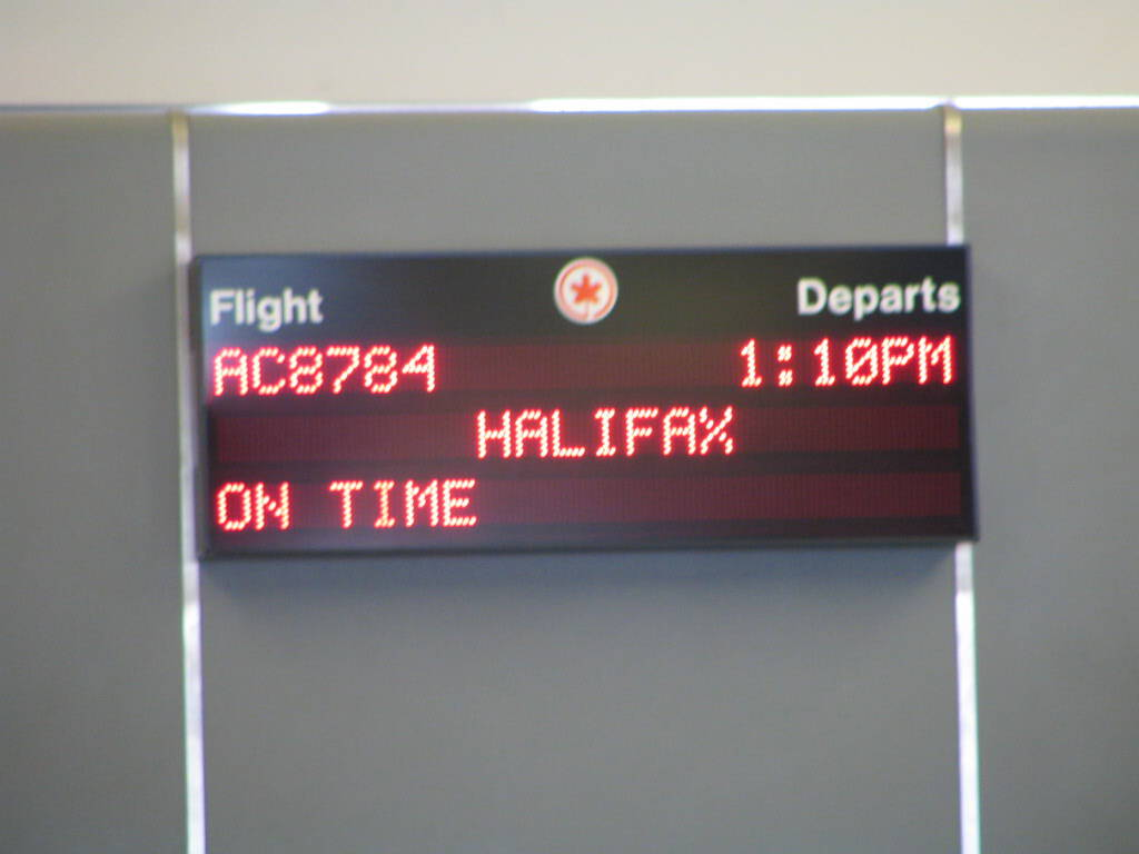 Air Canada flight information board