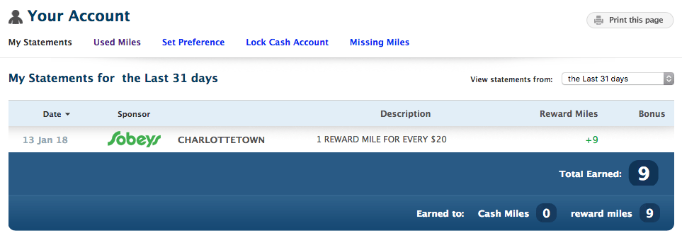 My Air Miles Transactions for 31 days