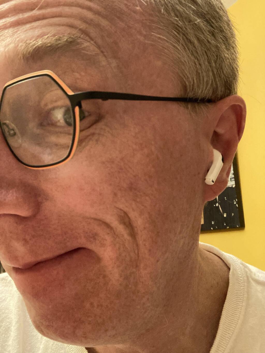 Me, wearing an AirPod Pro in my ear.