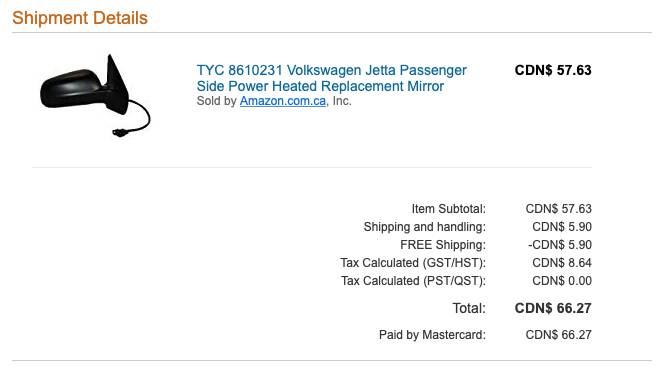 Invoice for replacement mirror from Amazon.ca, showing total price of $66.27.