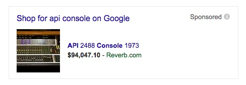 Screen show of a Google AdWords ad showing an API 2488 Console 1973 mixing board for $94,047.10