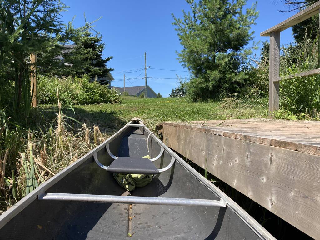 The canoe newly-ashore.